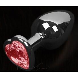 Графитовая анальная пробка с красным кристаллом в виде сердечка - 8,5 см.