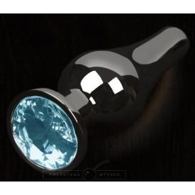 Графитовая удлиненная анальная пробка с голубым кристаллом - 12 см.